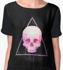 Skull in triangle on black Chiffon Top