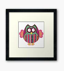 Cartoon ornate funny owl over white background Framed Print