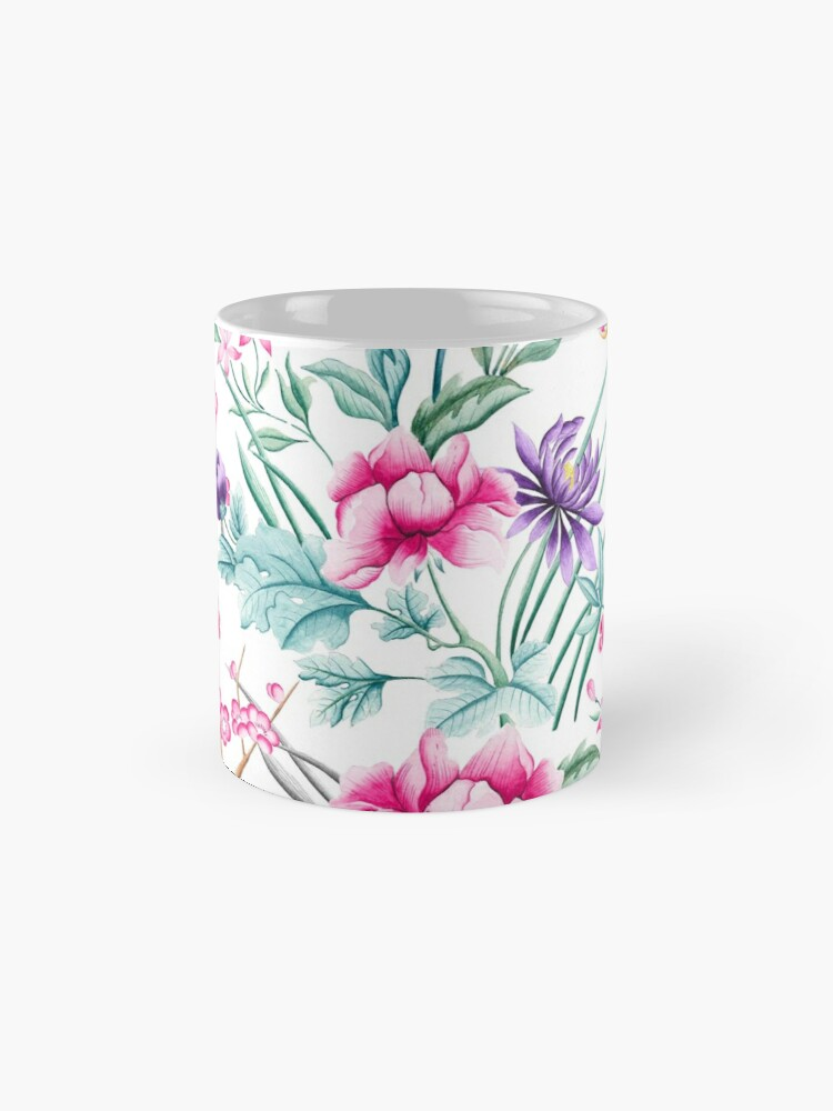 Vista alternativa de Taza Vintage Flower Garden Rainbow Butterfly blanco