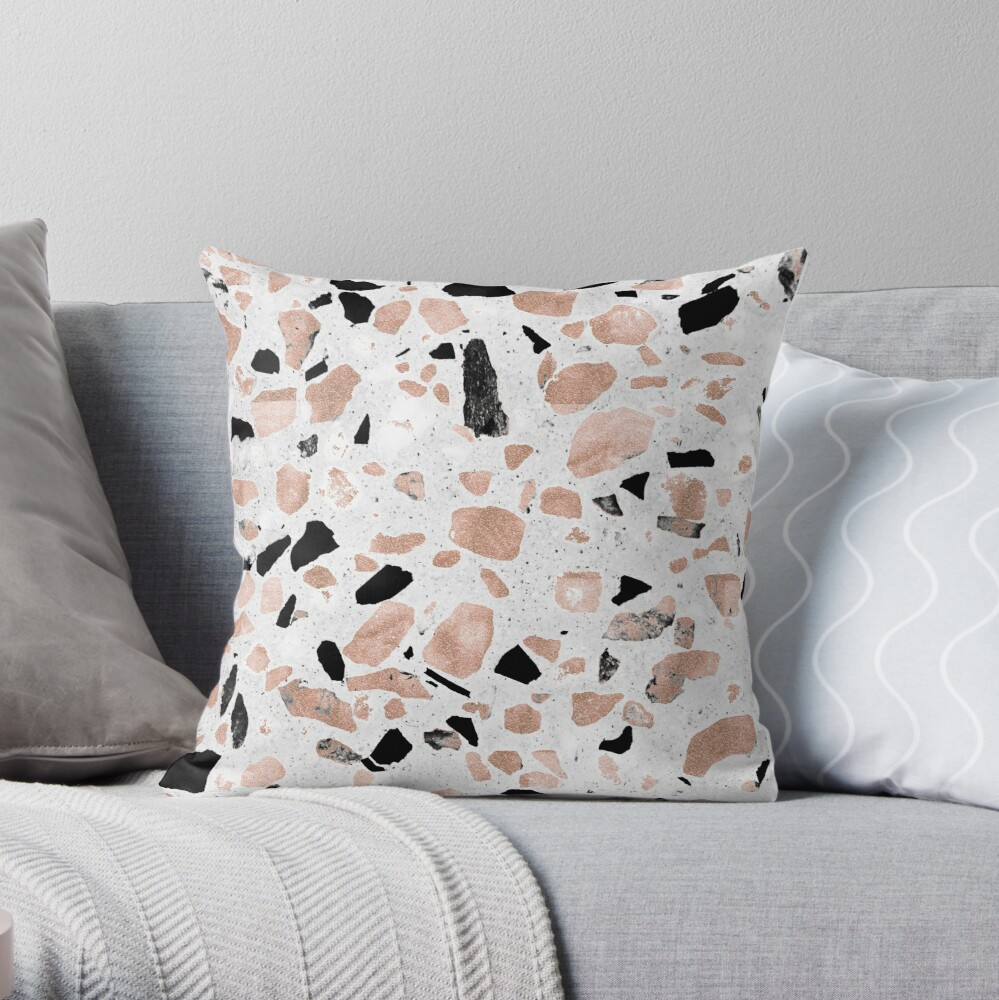 Classy rose gold vintage marble abstract terrazzo design Throw Pillow