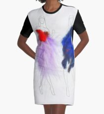 Beauty Fashion Model Girls Drawing with Feathers Dresses Graphic T-Shirt Dress