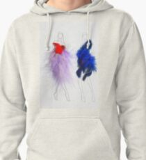 Beauty Fashion Model Girls Drawing with Feathers Dresses Pullover Hoodie