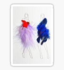 Beauty Fashion Model Girls Drawing with Feathers Dresses Sticker