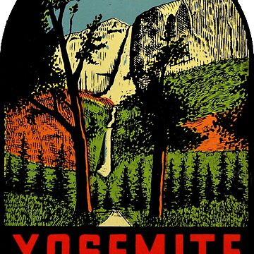 Calcomanía de viaje vintage del Parque Nacional de las Cataratas de Yosemite de hilda74