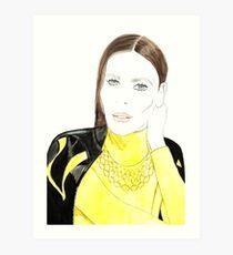 Lady in yellow Art Print