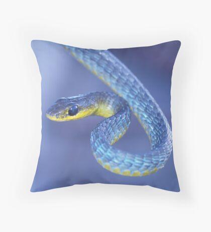 Blue - Green Tree Snake Throw Pillow