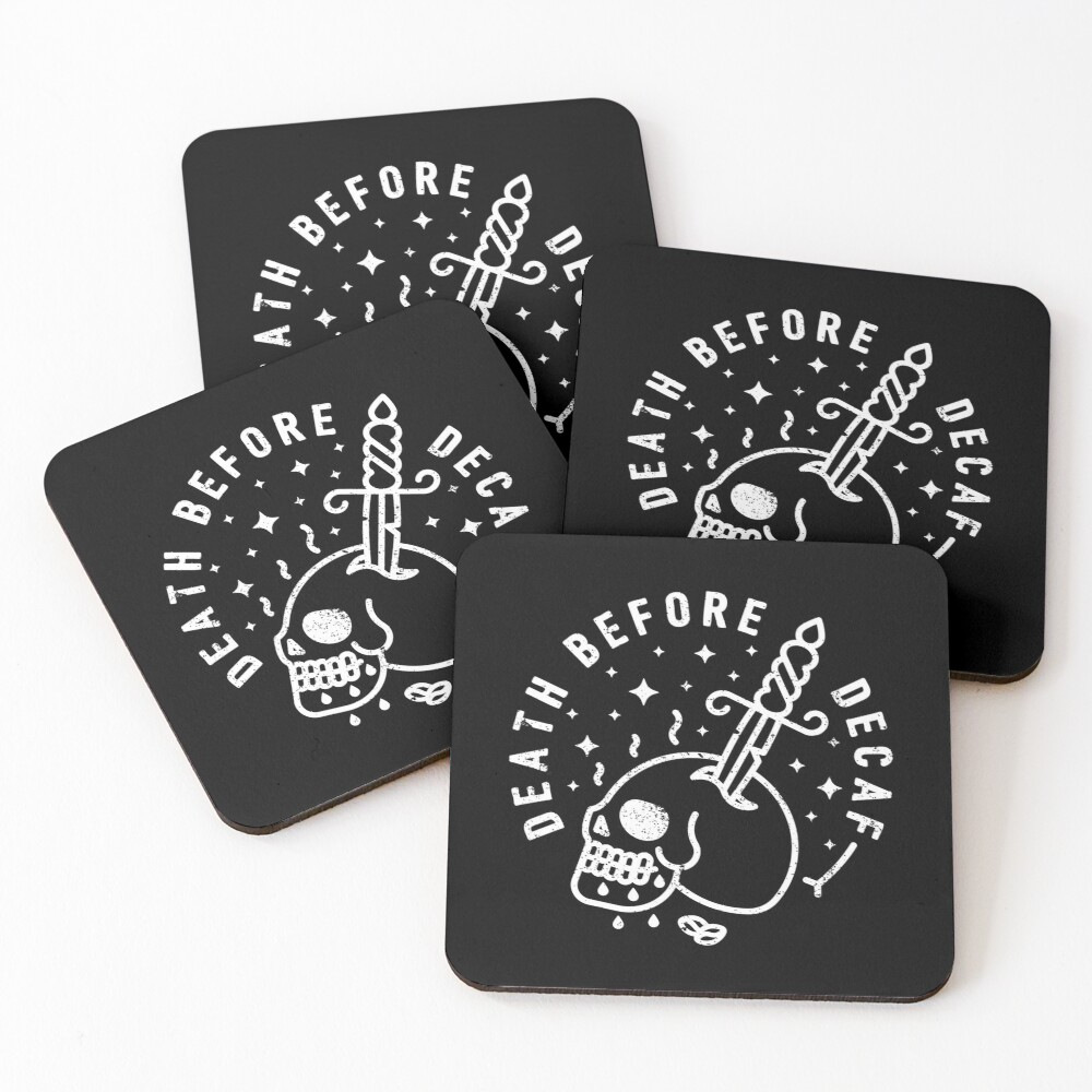 Death Before Decaf Coasters (Set of 4)