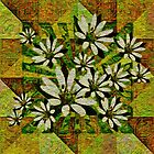Textured Daisies on Green by Dana Roper