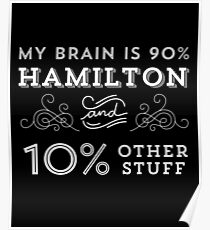 My Brain is 90% Hamilton Vintage T-Shirt from the Hamilton Broadway Musical - Aaron Burr Alexander Hamilton Gift Poster