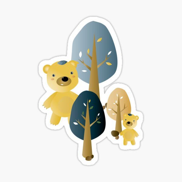 Leafbears in the woods Sticker