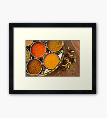 Bright Orange Yellow Asian Chef Spices Silver Indian Spice Pots Framed Print