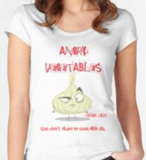 Sardonic Garlic Angry Vegetables - Eat Us If You Dare! Women's Fitted Scoop T-Shirt