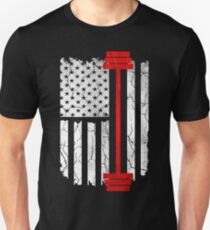 Fitness Weight lifting - American Flag T-Shirt