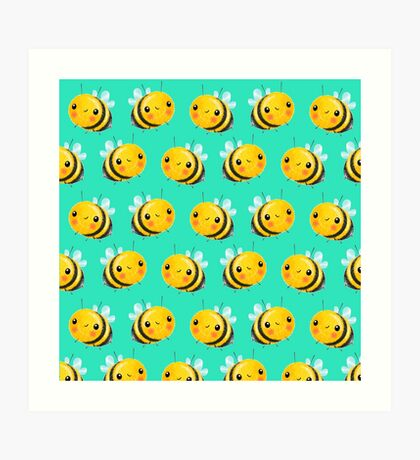 Bumble Bee Mint Art Print
