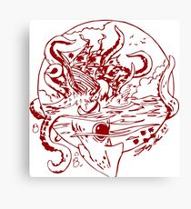 Giant Sea Monster Red   Myths and legends Canvas Print