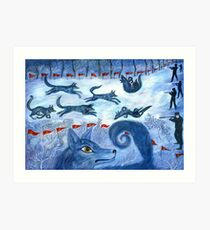 Hunting the wolf- Охота на волков Art Print
