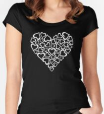 White Hearts Heart Women's Fitted Scoop T-Shirt