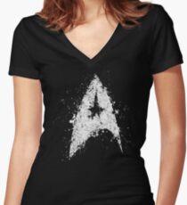 Star Trek - Splatter art Women's Fitted V-Neck T-Shirt