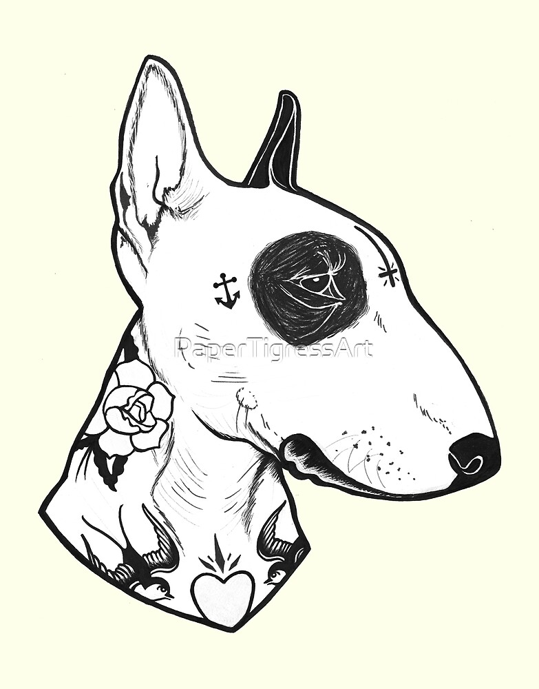 tattooed bullterrier by papertigressart redbubble. Black Bedroom Furniture Sets. Home Design Ideas