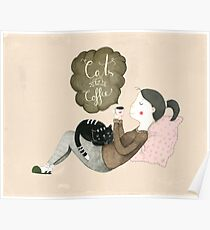 Cats and Coffee Poster