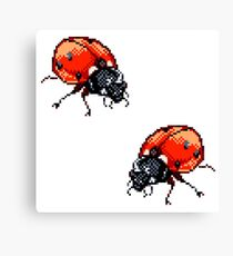 Pixel Ladybirds Canvas Print