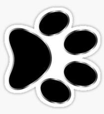 Black dog paw print with metallica rim. Sticker