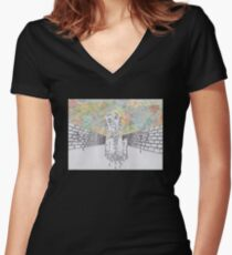 Melting man and sky Women's Fitted V-Neck T-Shirt