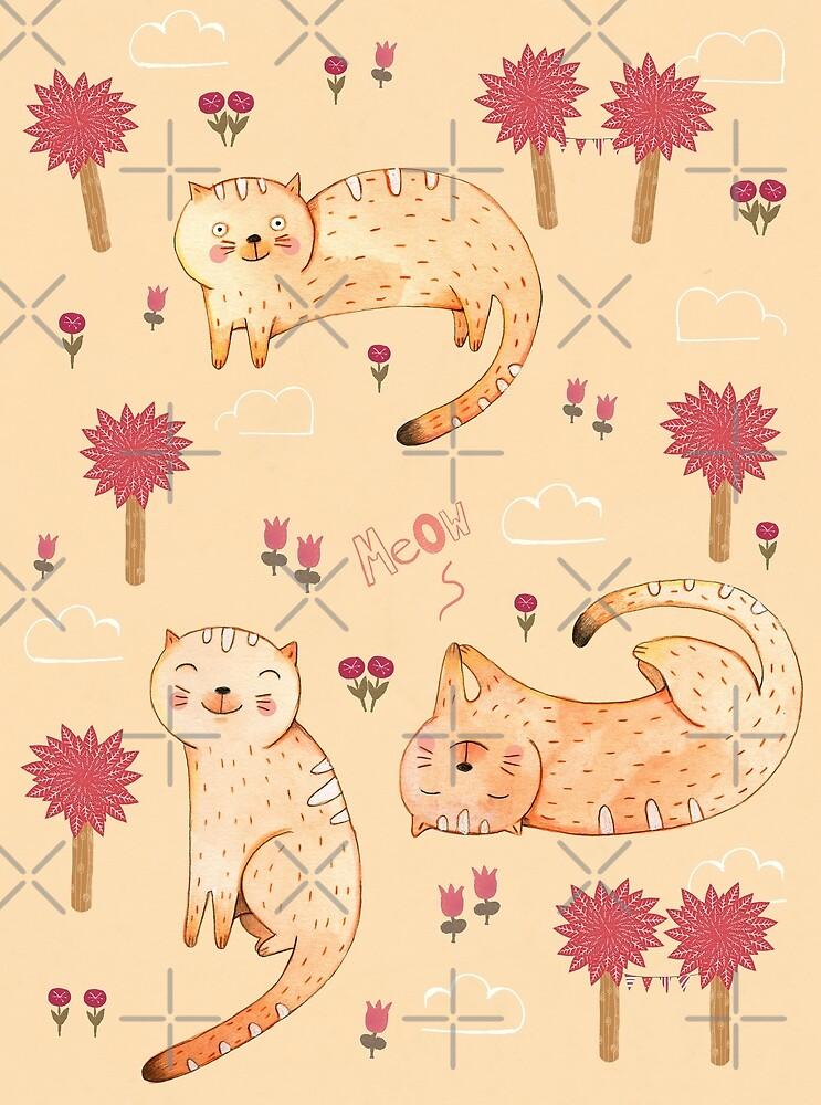 Orange Cat Pattern by Judith Loske