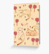 Orange Cat Pattern Greeting Card