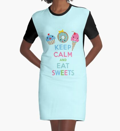 Keep Calm and Eat Sweets 2 Graphic T-Shirt Dress