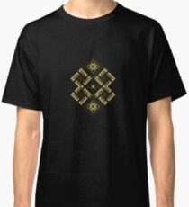 Swastika. Fiery ancient ornament. Old Nordic embroidery in a psychedelic modern style Classic T-Shirt