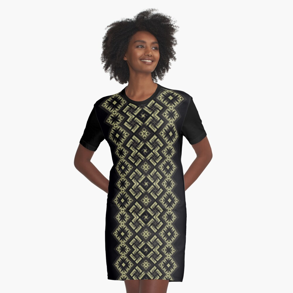 Swastika. Fiery ancient ornament. Old Nordic embroidery in a psychedelic modern style Graphic T-Shirt Dress