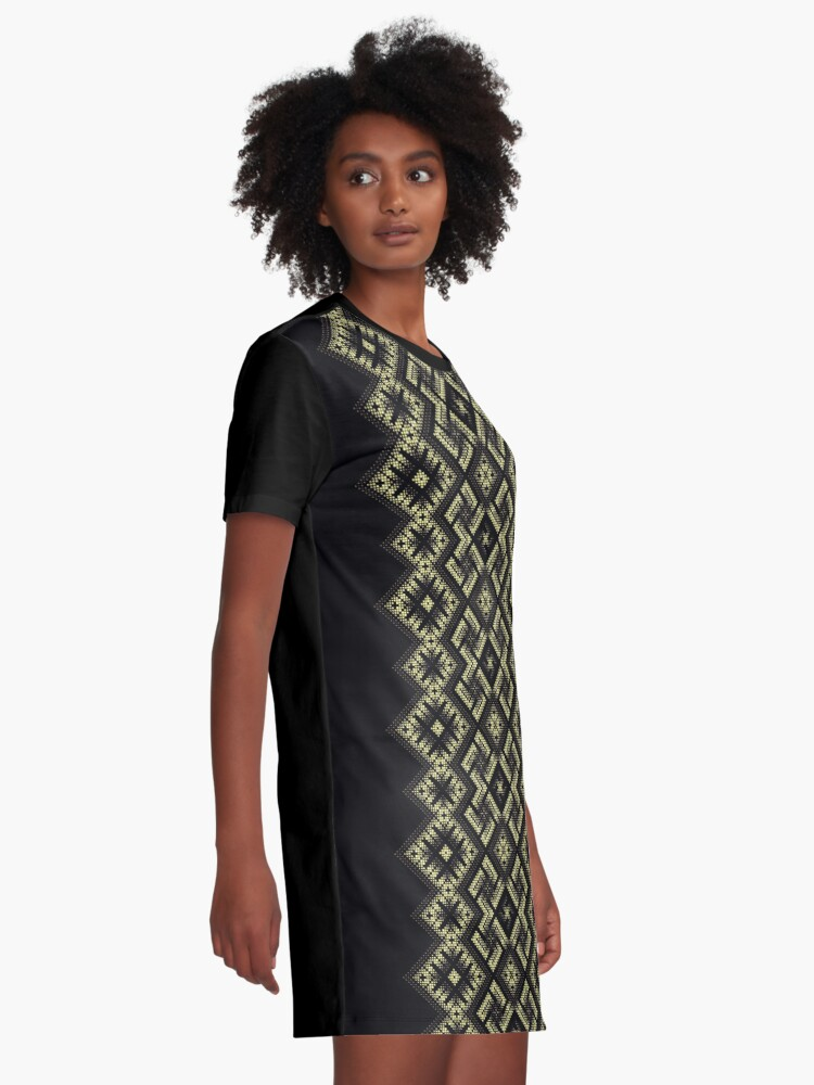 Alternate view of Swastika. Fiery ancient ornament. Old Nordic embroidery in a psychedelic modern style Graphic T-Shirt Dress