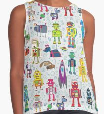 Robots in Space - grey - fun Robot pattern by Cecca Designs Sleeveless Top