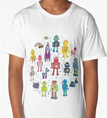 Robots in Space - grey Long T-Shirt