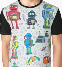Robots in Space - grey - fun Robot pattern by Cecca Designs Graphic T-Shirt