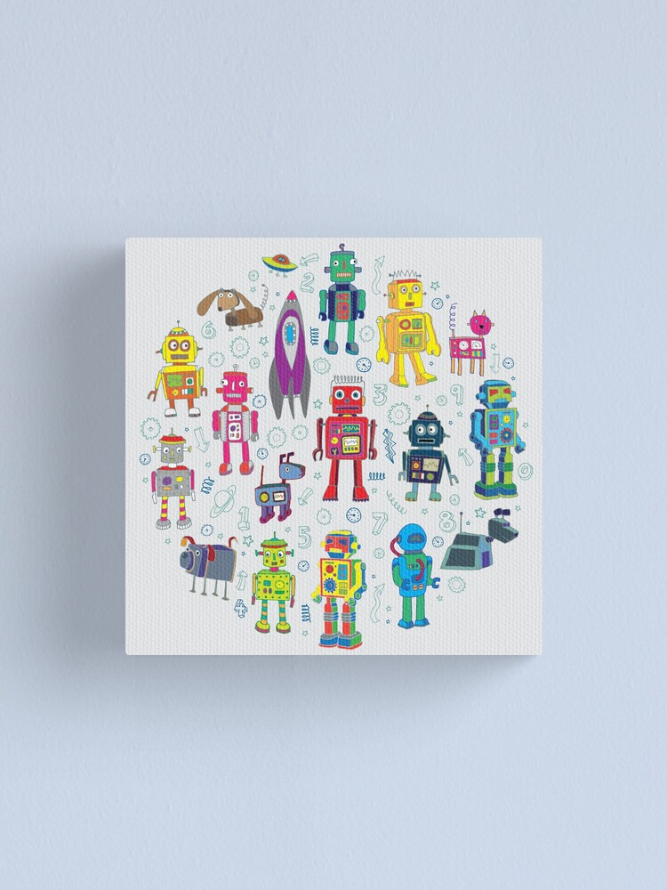Alternate view of Robots in Space - grey - fun Robot pattern by Cecca Designs Canvas Print