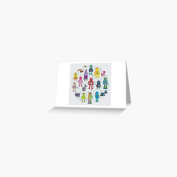 Robots in Space - grey - fun Robot pattern by Cecca Designs Greeting Card