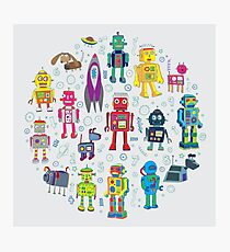 Robots in Space - grey Photographic Print