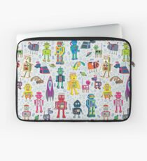 Robots in Space - grey - fun Robot pattern by Cecca Designs Laptop Sleeve