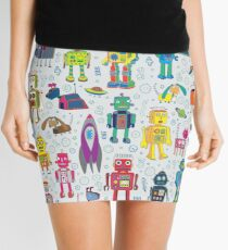 Robots in Space - grey - fun Robot pattern by Cecca Designs Mini Skirt