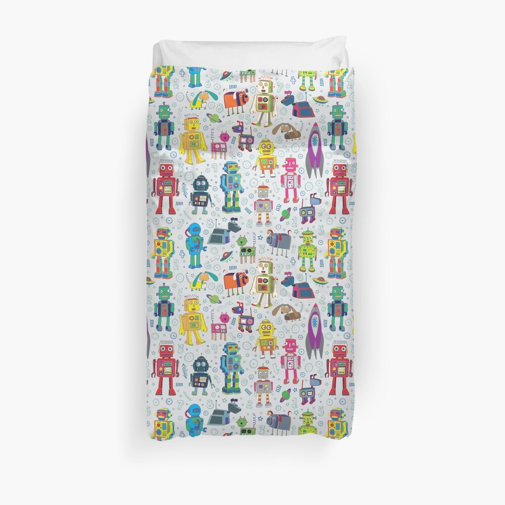 Robots in Space - grey - fun Robot pattern by Cecca Designs Duvet Cover