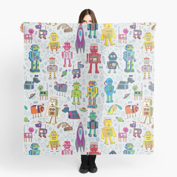 Robots in Space - grey - fun Robot pattern by Cecca Designs Scarf