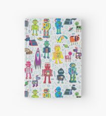 Robots in Space - grey - fun Robot pattern by Cecca Designs Hardcover Journal