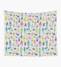 Robots in Space - grey - fun Robot pattern by Cecca Designs Wall Tapestry