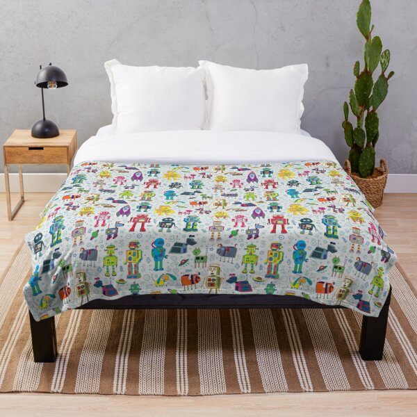 Robots in Space - grey - fun Robot pattern by Cecca Designs Throw Blanket