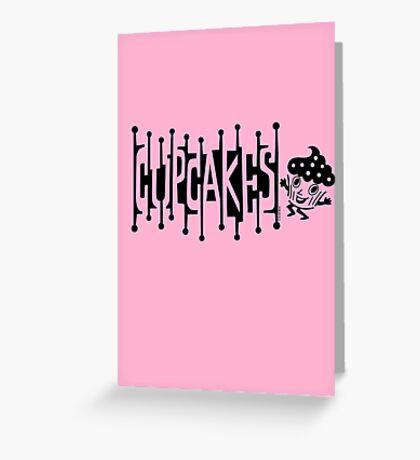 Retro Cupcakes - black Greeting Card