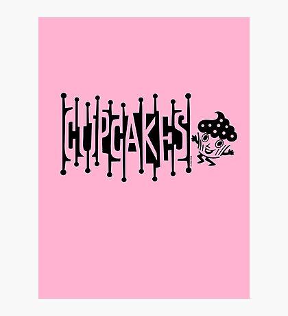 Retro Cupcakes - black Photographic Print