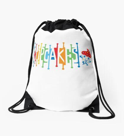 Retro Cupcakes - on lights Drawstring Bag