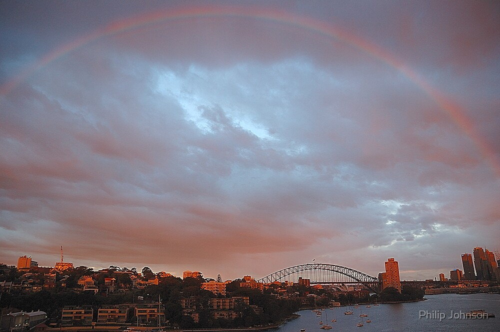 A Bit Of Help From  Above  - Sydney Harbour Rainbow by Philip Johnson